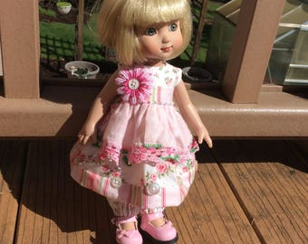 """Pinkity Pink, shabby chic, vintage hankie, 10"""" doll clothes,   Tonner,   Patsy, ooak"""