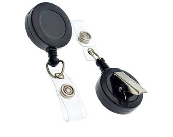 50 Black Badge Reels - Free Shipping!! - SWIVEL Pinch Clip (360 Alligator) Retractable ID Holders  - Bulk Crafting Supplies (2120-7601-Q50)