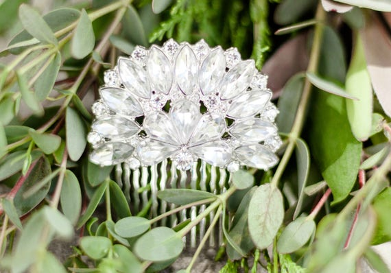 Wedding Hair Comb, Rhinestone Bridal Hair Comb, Bridal Hair Accessory, Art Deco Hair Comb, Rhinestone Flower Comb, Art Deco Comb DEW DROP
