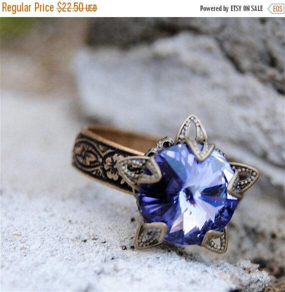 SALE 20% OFF Tanzanite Purple Ring Swarovski Crystal Ring Stargazer Victorian Adjustable Ring Filigree
