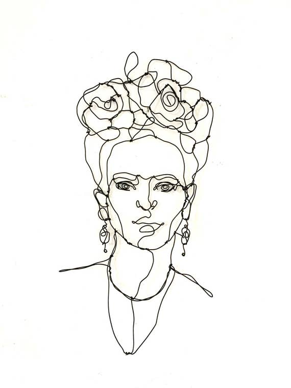 Names Of Line Drawing Artists : Frida kahlo wire sculpture portrait home decor wall