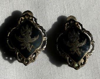 Vintage Sterling Silver Siam Black Enameled Earrings
