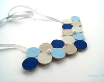 Dotted Bib Neclkace with Pearls - Blue Grey Dark Blue Ecru Felt Bib Necklace OOAK