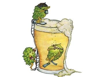 HOP, HOPS, HOPPING  - Art Print - Portland Beer, Brewery, ipa, beer art, diving, illustration, brew pub art