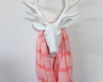 Stripe Infinity Scarf - Coral Tonal Stripe  - Cotton Jersey Knit