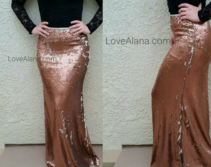 SALE til 11/23 S/M only Bronze Flip-Over Sequin Maxi Skirt - Gorgeous high quality sequins. Heavy and classy