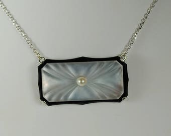 Art Deco Platinum Carved Onyx & Mother of Pearl Pendant