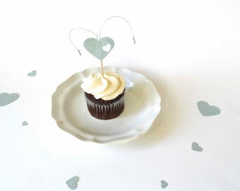 Heart Cupcake Toppers, explosion hearts toothpicks, bridal shower decor, baby shower decor, anniversary mini cake toppers, unique toppers
