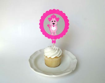 Dog Cupcake Topper, poodle theme party, dog theme party, decorated toothpicks, kids birthday party decor, mini cake topper