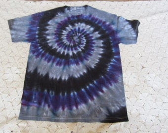 Tie dye shirt- Adult Large unisex tee- fantastic spiral of purple, black and silver grey!  Perfect for Colorado Rockies fans!