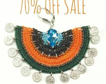 70% OFF Earrings- Bohemian Ethnic Geometric Rhinestone Coin Green Crochet Statement Large Chandelier Earrings, Textile Fiber Jewelry