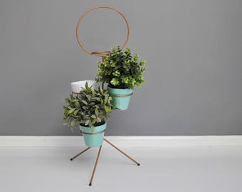 Mid-Century Metal Plant Stand with Original Pots