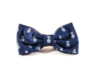 Preppy Blue Denim Pineapple Dog Bow Tie