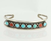"""Navajo Turquoise & Coral Cuff Bracelet 6 1/4"""" - Sterling Silver Q7005"""
