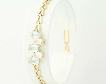 "Blue & White Topaz Link Bracelet 7"" - 14k Yellow Gold Chain 3.00ctw N6578"
