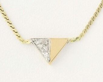 "Diamond Triangle Necklace 16"" - 14k Yellow Gold Serpentine Chain Italian N7272"