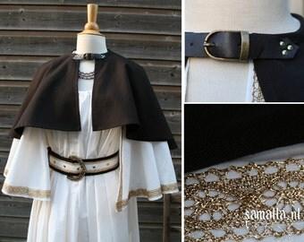 Short Cape in Ecru and dark brown Cotton with golden details (Greek/Roman Goddess, Larp, COSplay, reenactment, renfaire) - <READY TO SHIP>