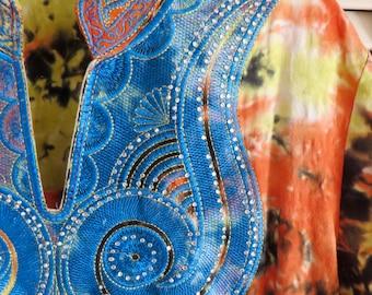 Vintage Tie Dye Kaftan Maxi Dress Free Size S M L Embroidered Psychedelic 60s 70s Boho Hippie Gypsy Club Kid Geisha Grunge 90s Mod Festival