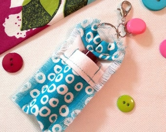 Cute as a Button Chapstick Holder Keychain for Women, Lip Balm Holder Key Ring, Lip Balm Keychain with Chapstick Lip Balm, Pink Button Charm