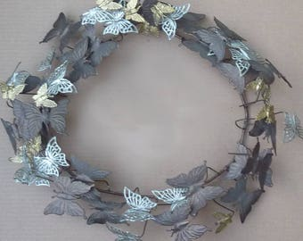 BUTTERFLIES! Large Rustic Vintage Petite Chose Copper Wreath for Spring . . . No. SM4 (THREE available)