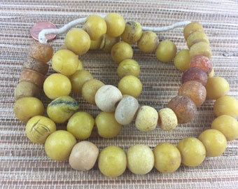 Old Golden Yellow Faux Amber Beads, Strand, Mixed Shapes, Lightweight (AT0647)