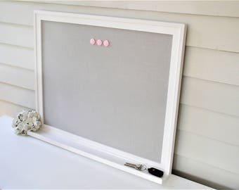 Linen BULLETIN BOARD with Key Ledge Shelf MAGNETIC Framed Magnet Memo Board in Pale Gray Fabric 20.5 x 26.5 Handmade Frame Message Board