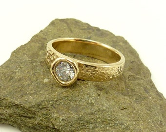 Bronze Solitaire Ring with 5MM CZ, Contemporary Solitaire Ring, Emma's Ring, Stacking Solitaire Ring, Womens Bronze Ring