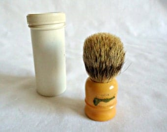 Vintage Bakelite Shaving Brush Simpson Best Badger Butterscotch With Travel Case 1930's