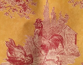 Waverly  vintage french country lot of three !!! wallpaper border barn red mustard roosters wheelbarrows! Price is for all 3 pkgs!