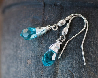 Blue Crystal Earrings For Girl Small Blue Earrings Swarovski Drop Earrings Swarovski Jewellery Birthday Gift For Her Bridesmaid Earrings