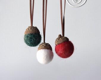 9 Christmas Needle Felted Wool Acorn Ornaments Home Decor
