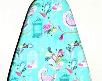 Tabletop Ironing Board Cover - Peacocks and Tropical flowers in turquoise and pink  -  Laundry and Housewares