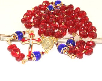 Sacred Heart & Immaculate Heart Rosary, Red and Blue Crystal Catholic Prayer Beads