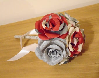 First Wedding Anniversary, 6 Flower Rose Bouquet with Sash or personalised Label, Paper Flowers, silver grey, red and white