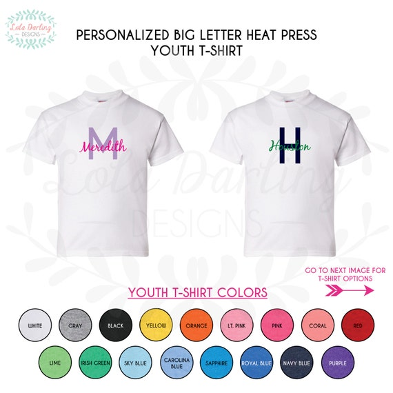 items similar to youth personalized heat press big letter With heat press letters for shirts