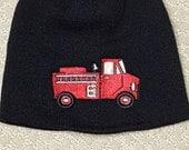 Fire Truck Black Hat, Firetruck Embroidered Hat, Knit Black Hat