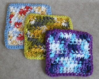 Crochet Cotton Wash Cloths: small facial cloths, multi-color small cotton face cloths (choose 1 or more)