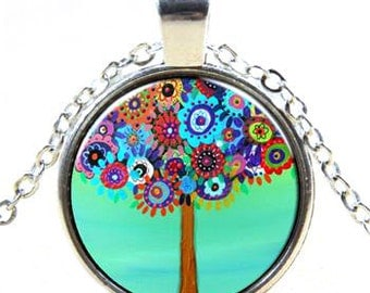 Colorful Tree Glass Cabochon Pendant Necklace