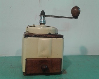 Vintage  1940s French Coffee Grinder, coffe mil art decol, kitchen decor