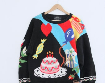 1980s Birthday Girl Sweater Cake Princess Balloons Tack Pullover Raquel's Collection Womens Vintage Small Medium