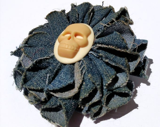 Recycled Vintage Denim Flower Clip - with Skull Cameo Center