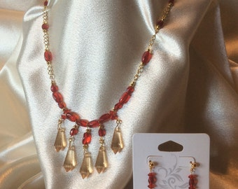 Champagne and Crimson, Crystal Necklace and Earrings with Gold accents by Elstwhen