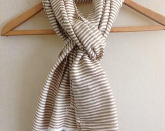 SCARF- Cotton ticking stripe scarf for men and women HEZELNUT