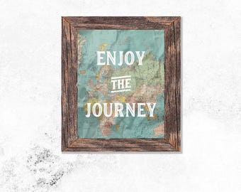 Enjoy the Journey World Map Paper Wall Art Print