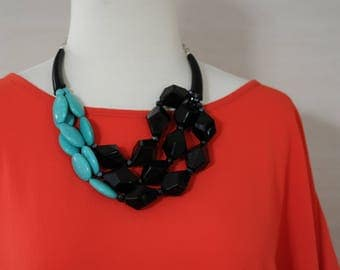 SALE - Bib Necklace, Chunky Turquoise Necklace, black stone and turquoise necklace, Gift for her, Summer necklace, layered necklace