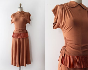 vintage 1940s dress // 40s rayon evening dress