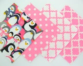 Quilt Square Clearance Grab Bag in Pink Penguins, Pink Dot, and Trellis Matching Prints 50 Squares