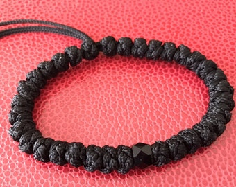 Super Sturdy Nylon Prayer Bracelet With Black Faceted Glass Bead