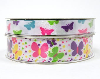 Spring Butterfly Ribbon, White Ribbon with Brightly Colored Butterflies, 3/8 inch Ribbon, 5/8 inch Ribbon, 3 yards per roll