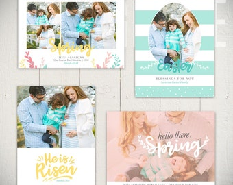 Easter Card Templates - Spring Mini Session Marketing Board Ads - Hello Spring - INSTANT DOWNLOAD